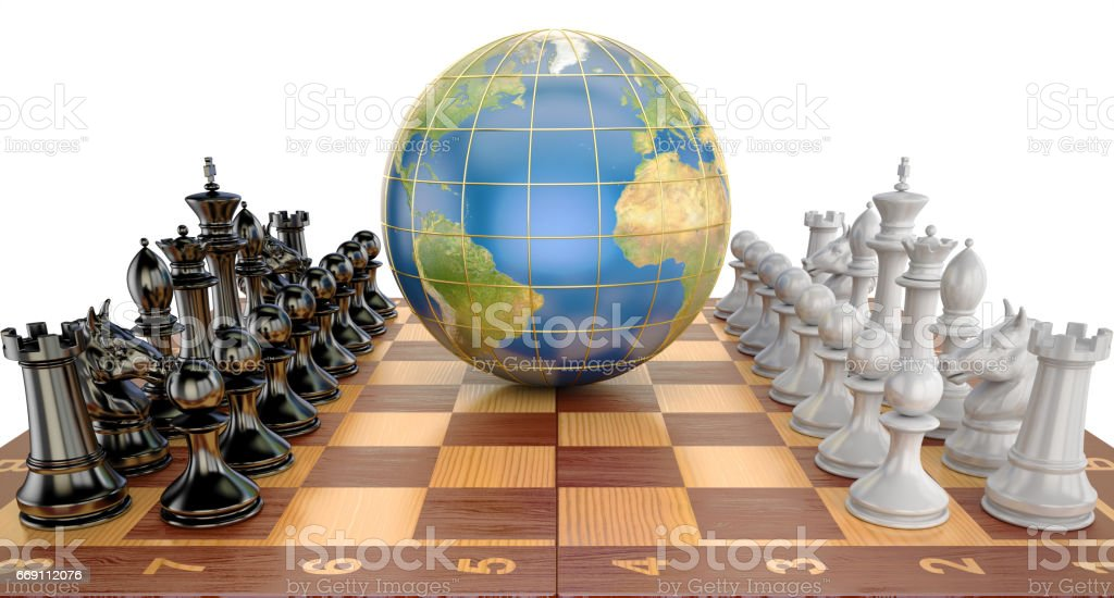 Global tactical and strategy concept, world globe with chess pieces vector art illustration