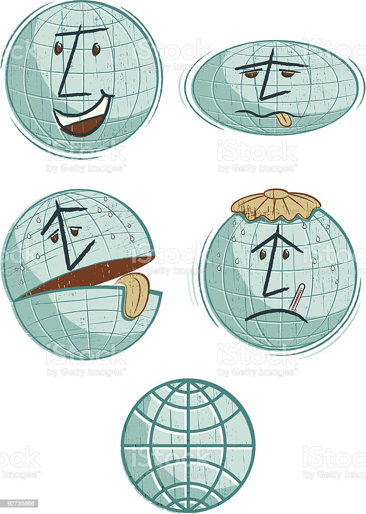 Global Warming Globes - Royalty-free Anthropomorphic Face stock vector