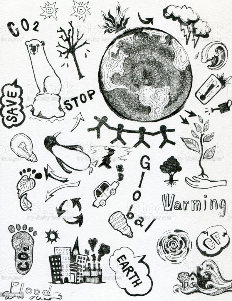 Doodle art global warming