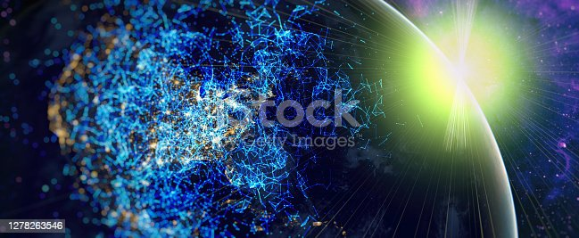 istock Global world network and telecommunication on earth and IoT. Communication technology for internet business.Elements of this image furnished by NASA 1278263546