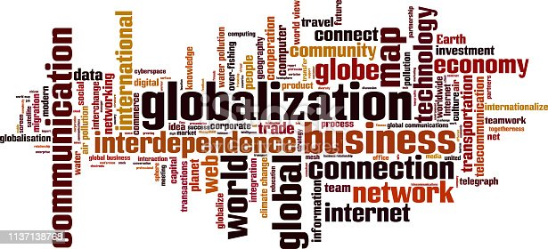 Globalization word cloud concept. Collage made of words about globalization. Illustration