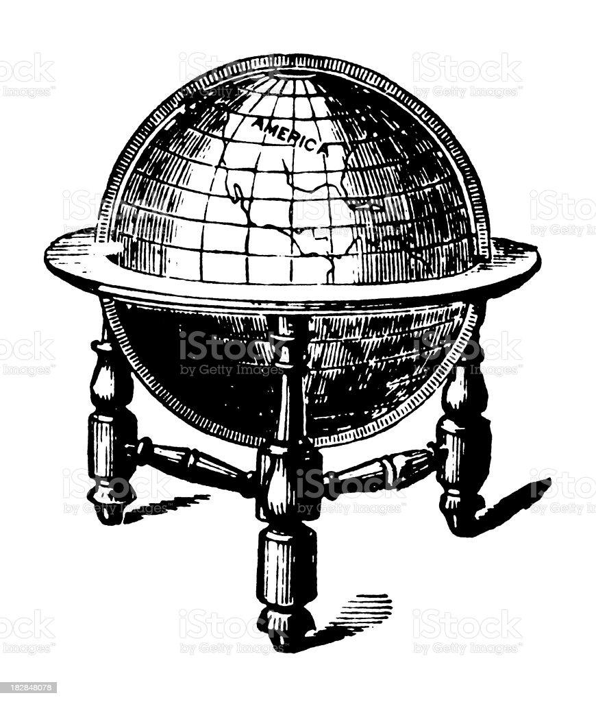 Globe   Early Woodblock Illustrations royalty-free stock vector art