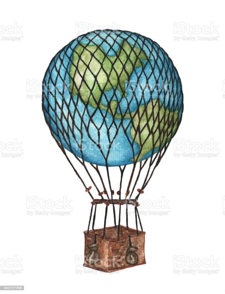 Globe Hot Air Balloon Basket On White Background Watercolor