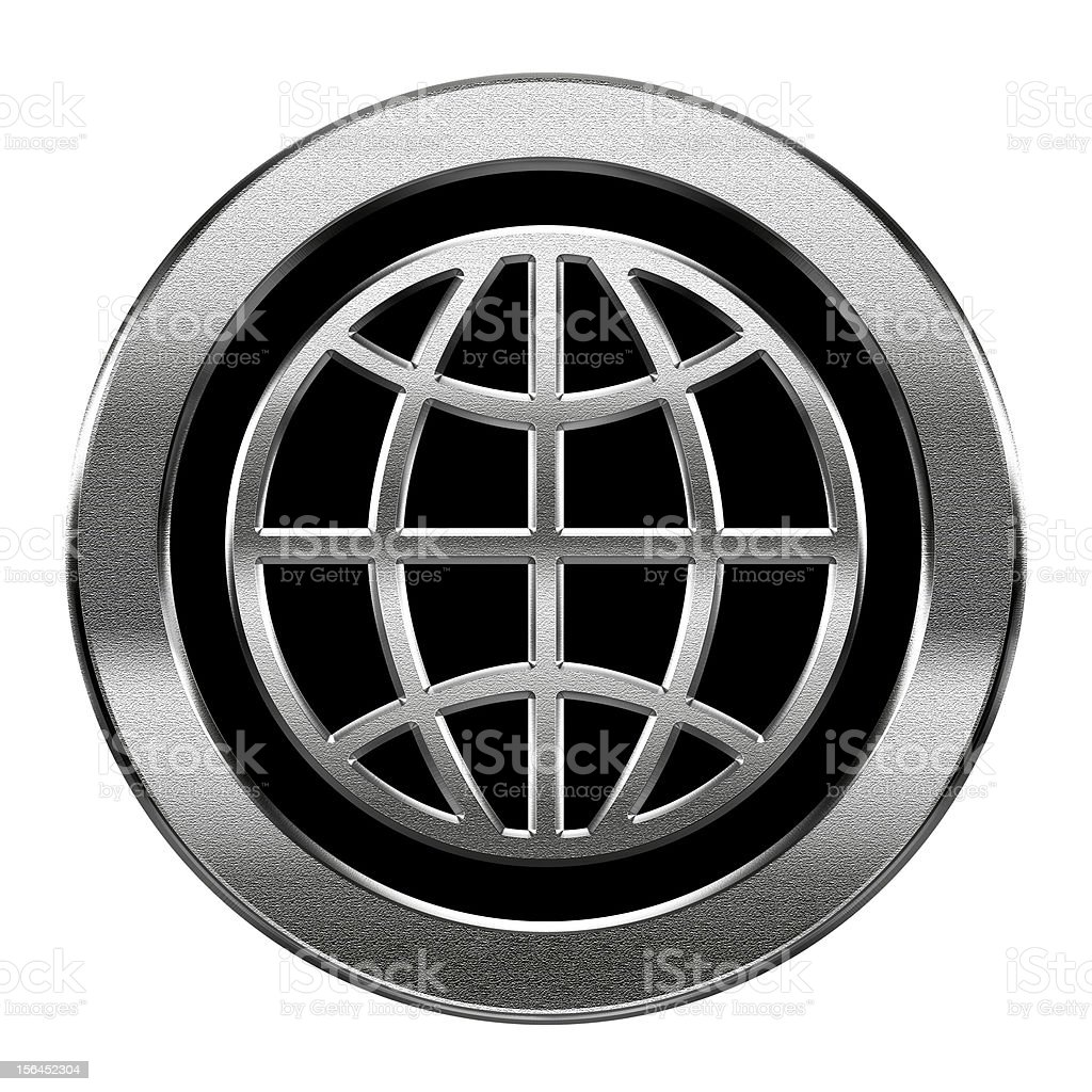 Globe icon silver, isolated on white background. royalty-free globe icon silver isolated on white background stock vector art & more images of black color