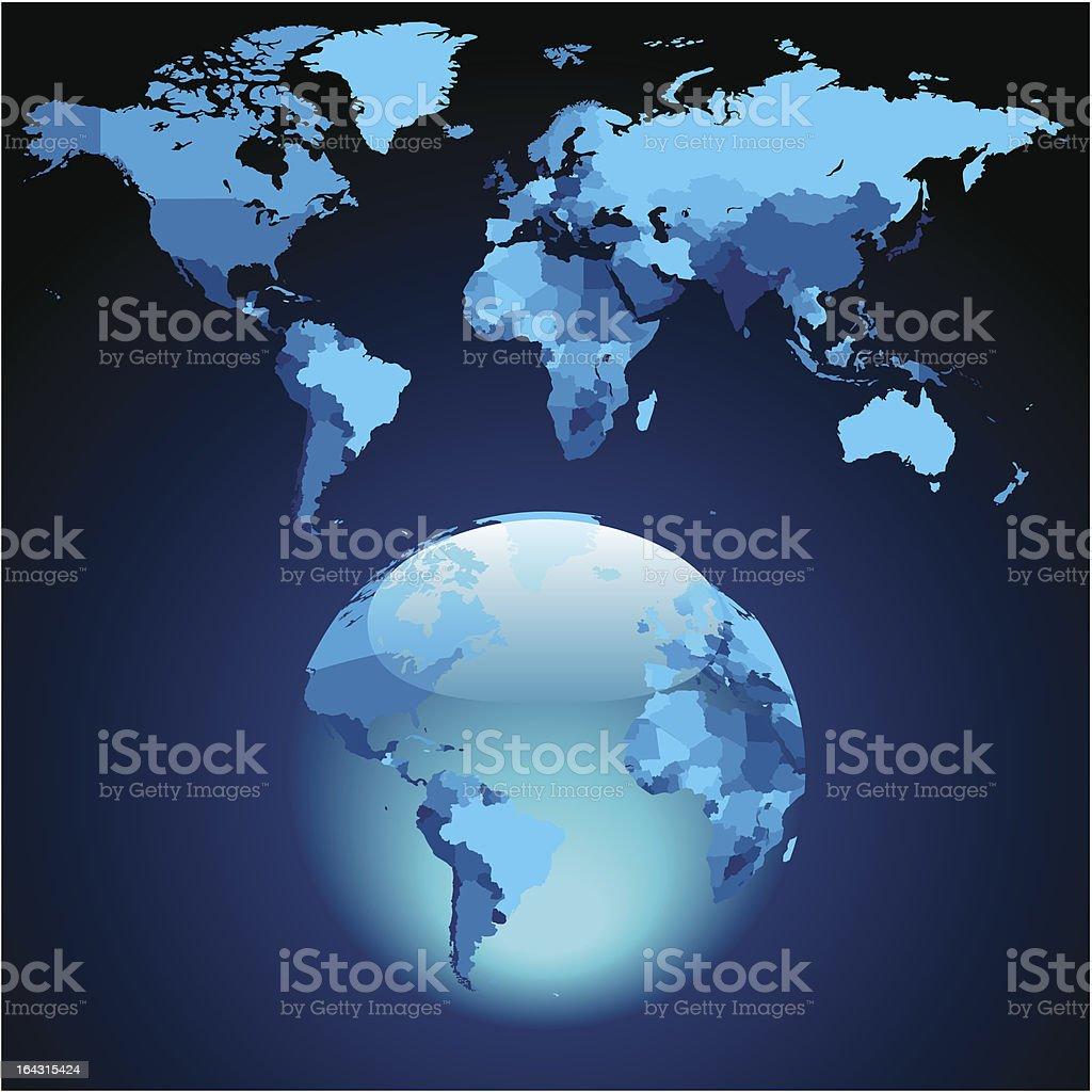 Globe on dark blue World map royalty-free stock vector art
