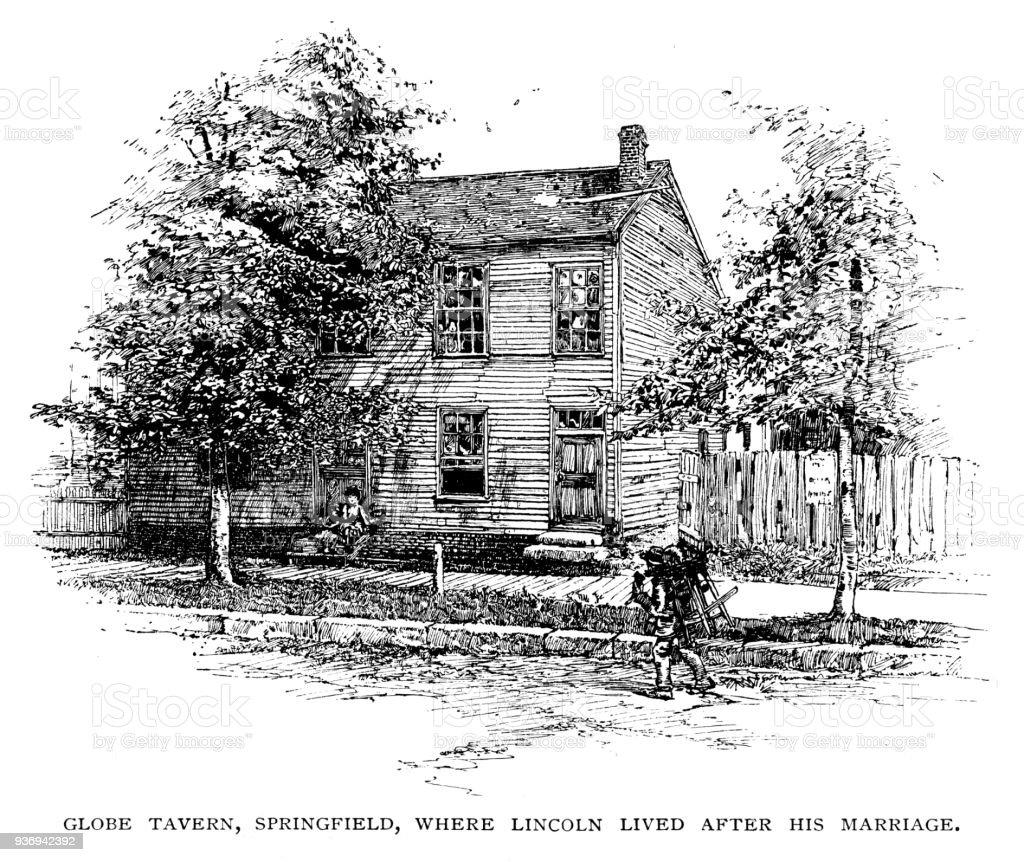 Globe Tavern, House where Abraham Lincoln lived vector art illustration