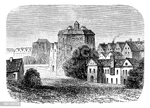 Antique engraving of Shakespeare's Globe Theatre in London. Isolated on white.
