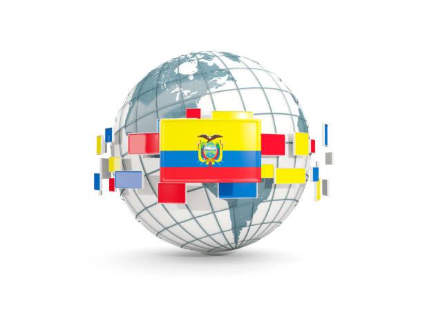 白で隔離エクアドルの国旗と世界 ベクターアートイラスト
