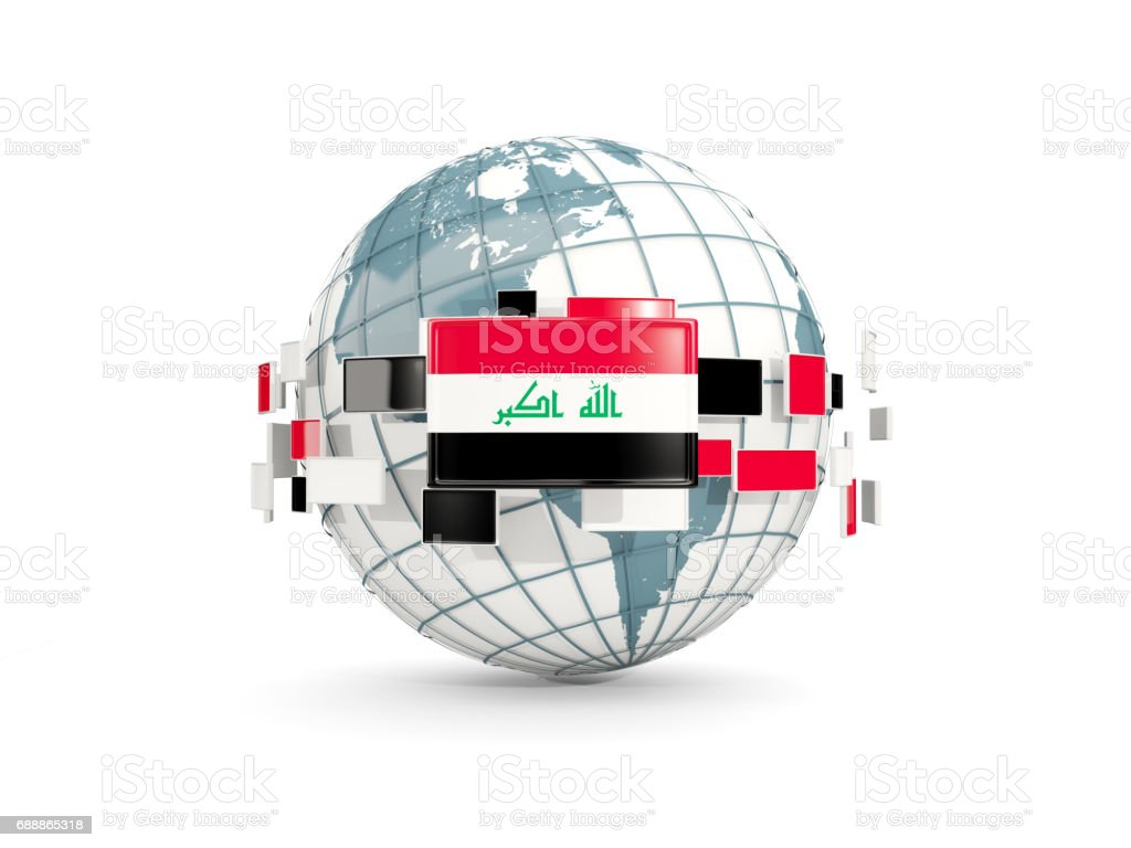 Globe with flag of iraq isolated on white vector art illustration