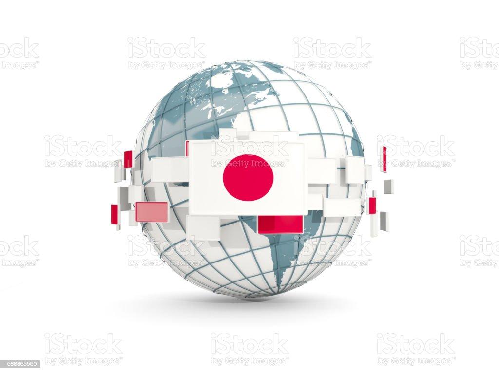 Globe avec le drapeau du Japon isolé sur blanc - Illustration vectorielle