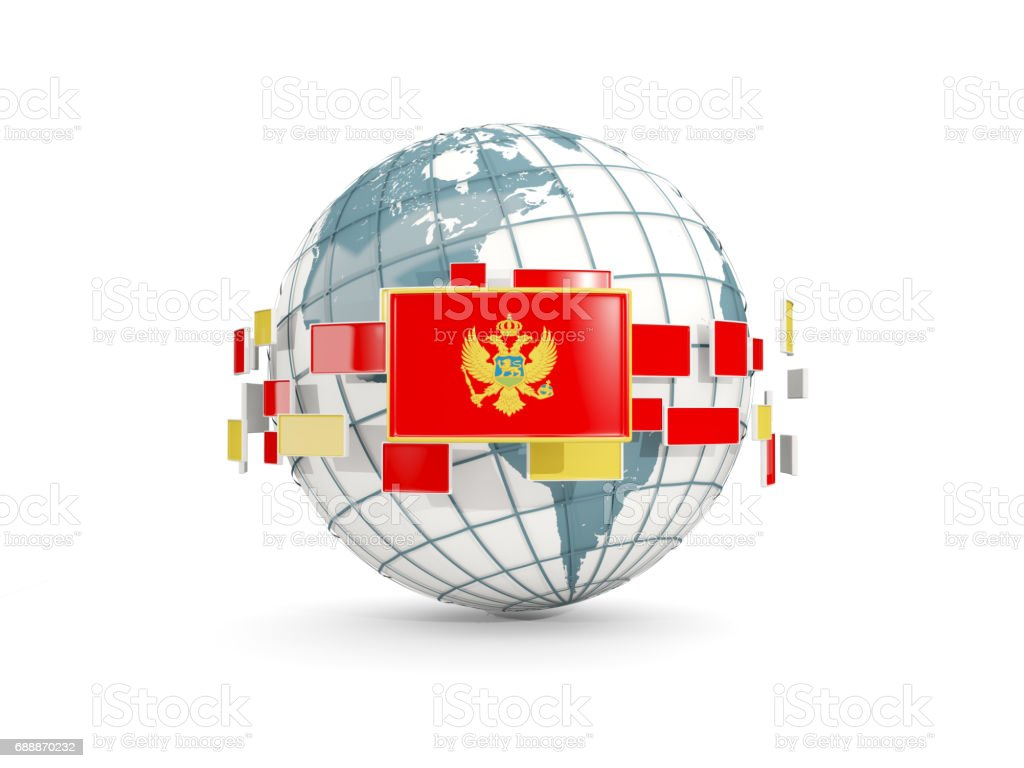 Globe with flag of montenegro isolated on white vector art illustration
