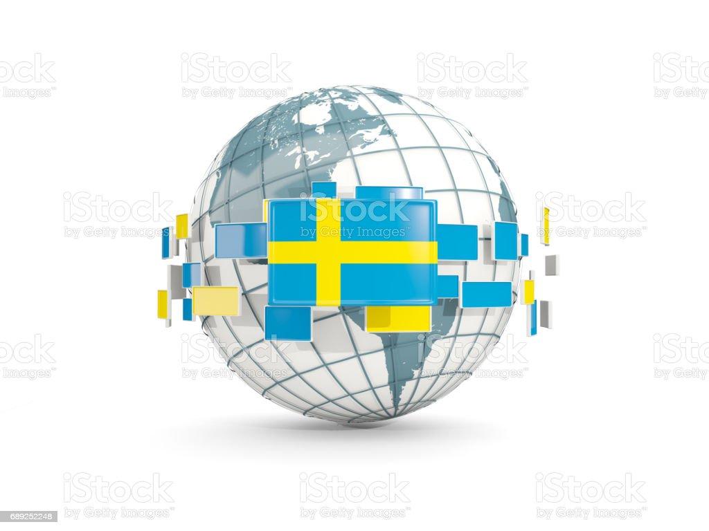 Globe with flag of sweden isolated on white vector art illustration