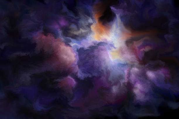 gloomy clouds, painted art background - космос и астрономия stock illustrations