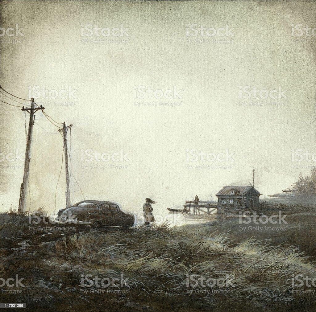 Gloomy landscape vector art illustration