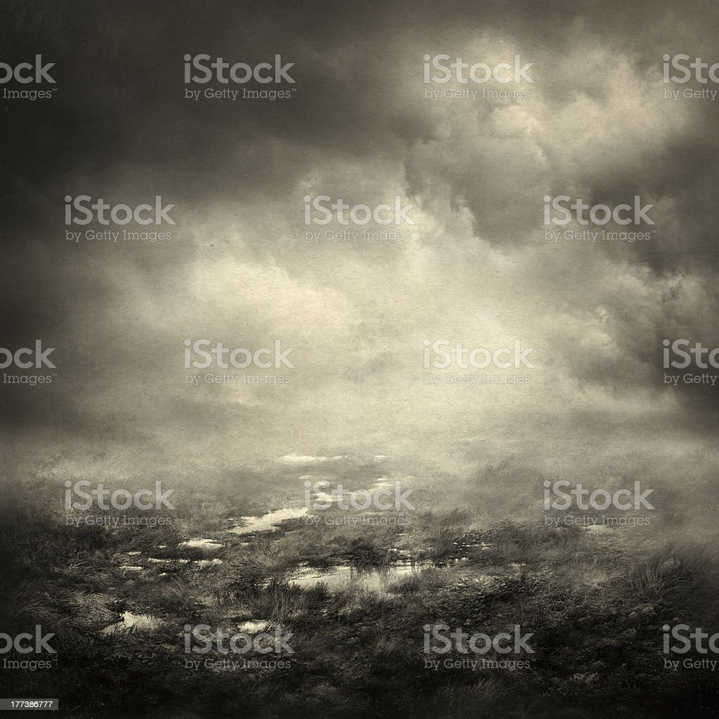 Gloomy landscape vector art illustration