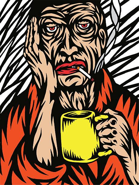 bildbanksillustrationer, clip art samt tecknat material och ikoner med gloomy morning - coffe with death