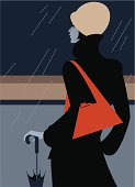 Woman in a coat standing all alone in a rain. Eps and hi-res jpg, layers.