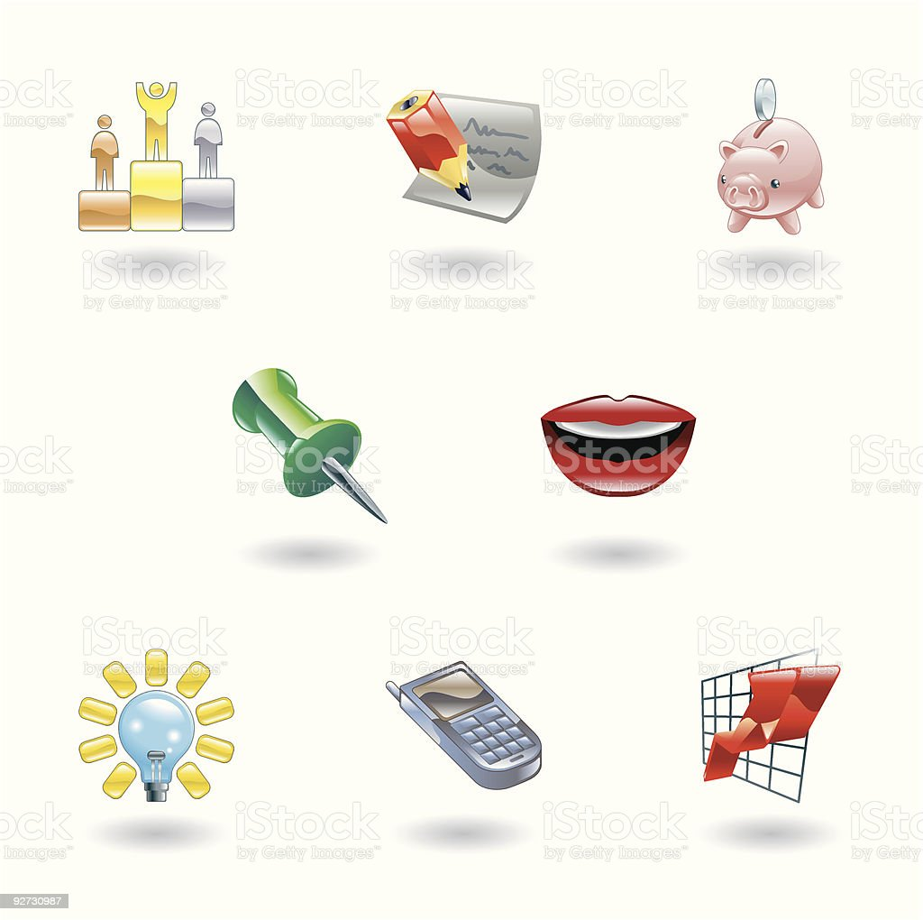 Glossy Business and Office Icon Set royalty-free stock vector art