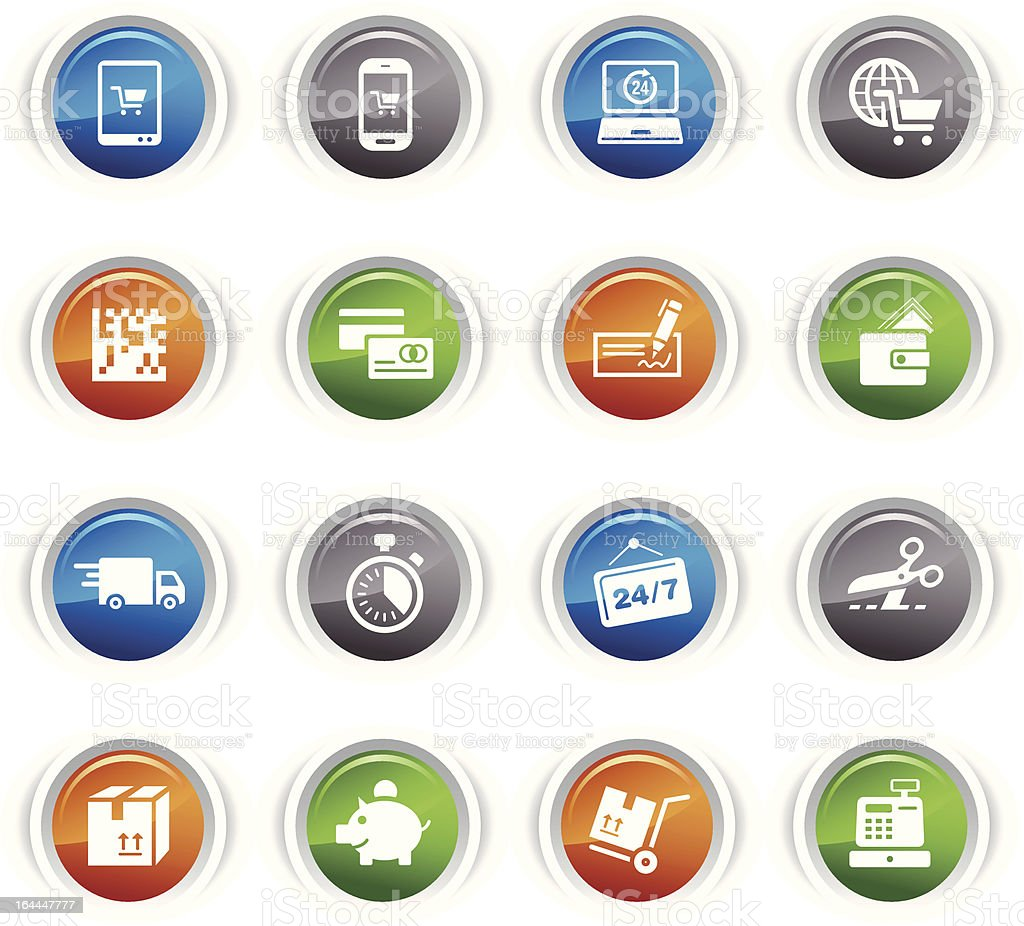 Glossy Buttons - Shopping icons royalty-free stock vector art