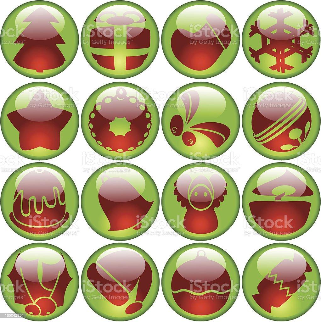 glossy Christmas icons royalty-free stock vector art