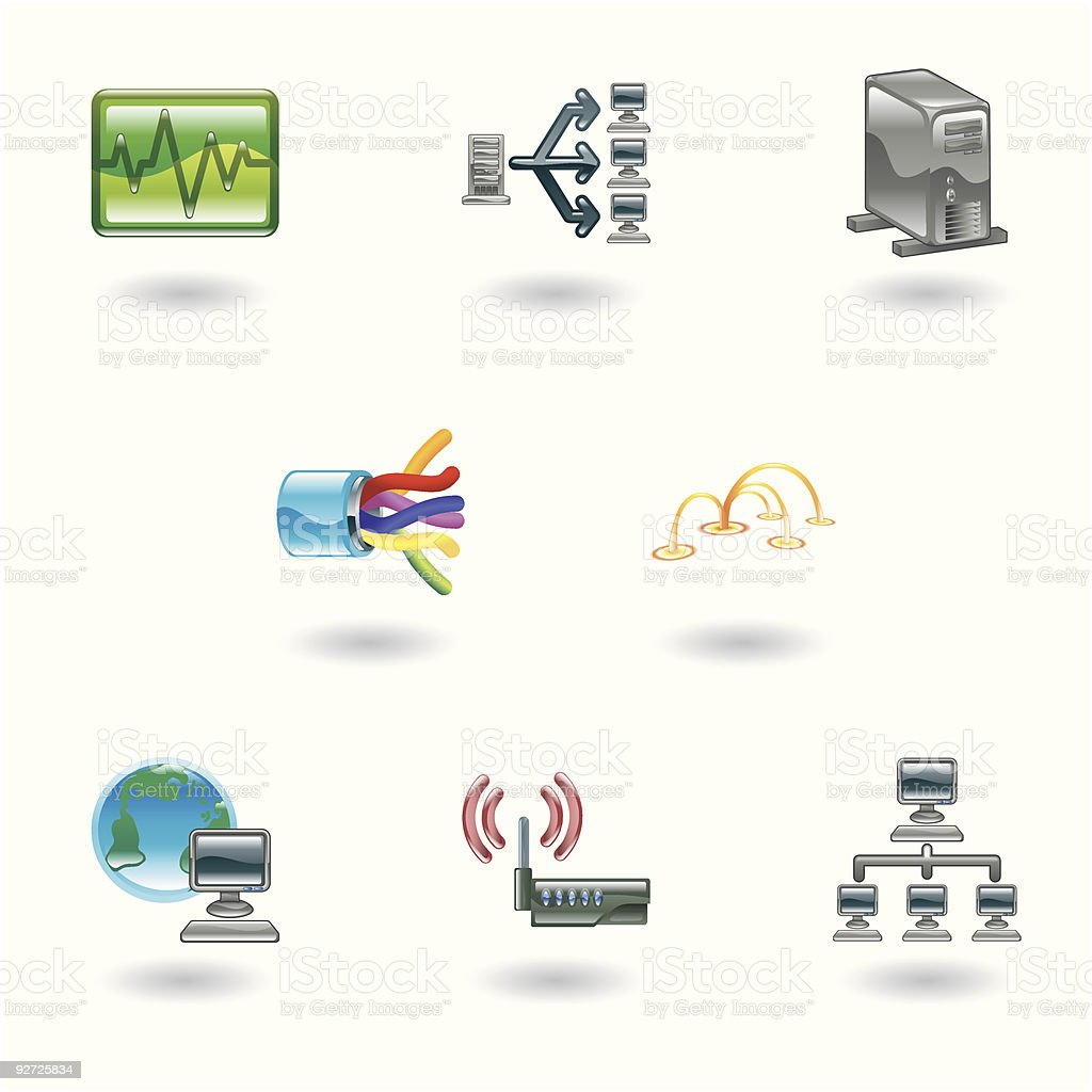 Glossy Computer Network Icon Set vector art illustration