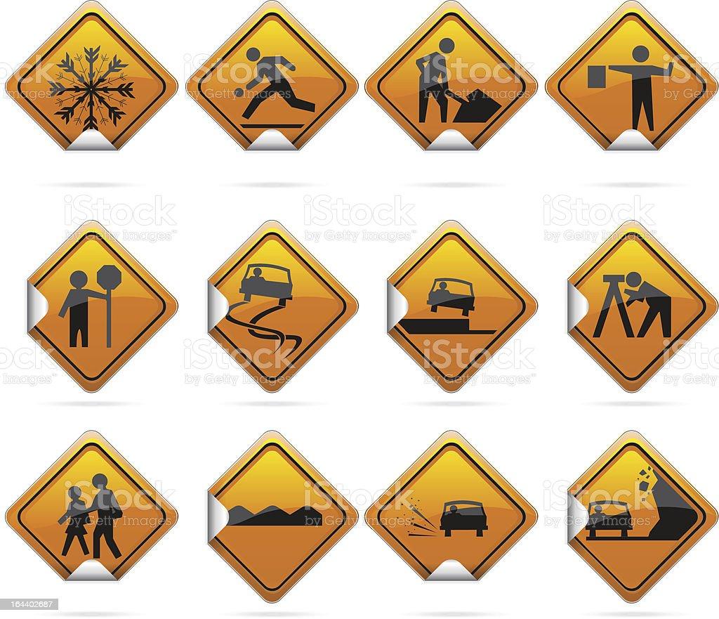 Glossy Diamond Road Sign Stickers vector art illustration