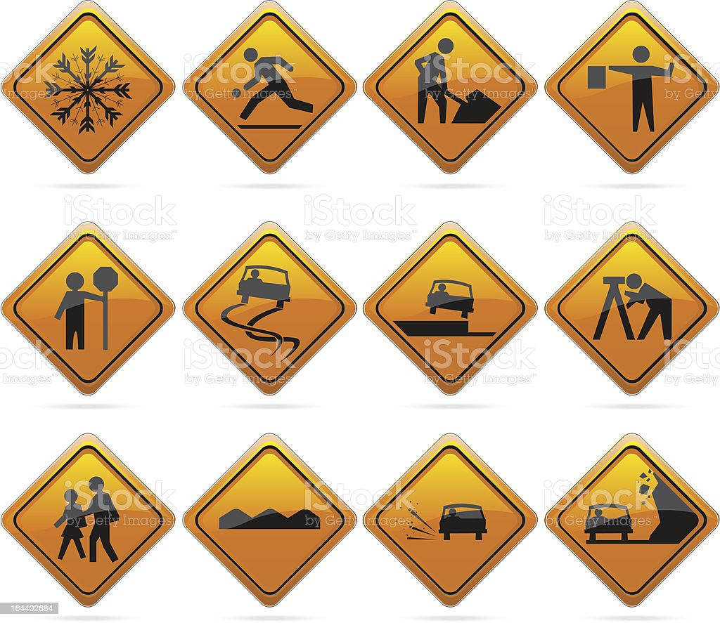 Glossy Diamond Road Signs royalty-free glossy diamond road signs stock illustration - download image now