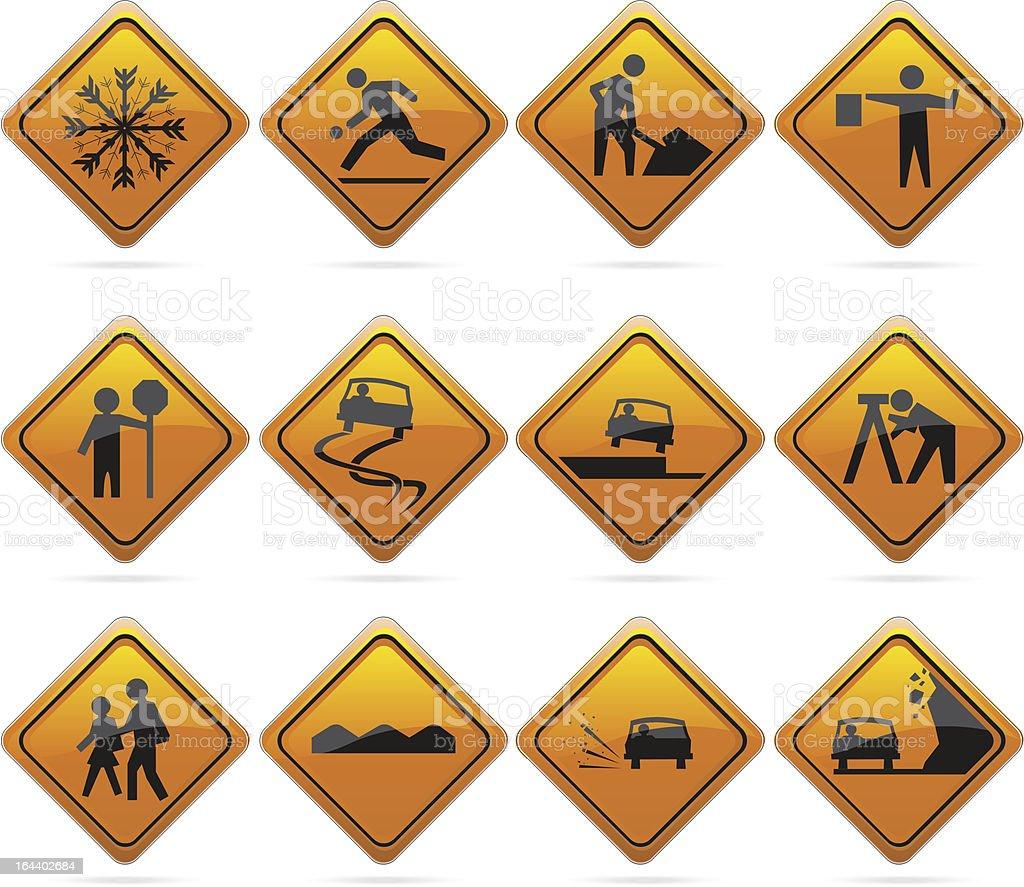 Glossy Diamond Road Signs vector art illustration