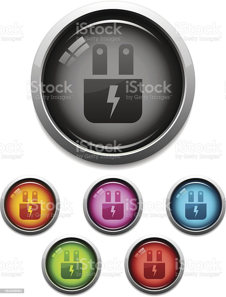 Glossy electric plug icon royalty-free stock vector art
