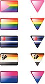 """""""Glossy Icon set featuring several gay, lesbian and bisexual pride flags. Drop Shadows can easily be turned on and off!"""""""