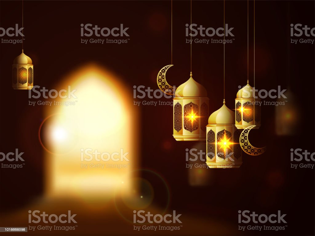 Glossy golden lanterns and cresent moon shape ornaments and blur vision of a door. Islamic festival of sacrifice, Eid-Al-Adha background. vector art illustration