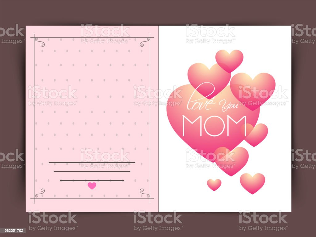 Glossy hearts decorated, Elegant greeting card design for Happy Mother's Day celebration. glossy hearts decorated elegant greeting card design for happy mothers day celebration - arte vetorial de stock e mais imagens de amor royalty-free