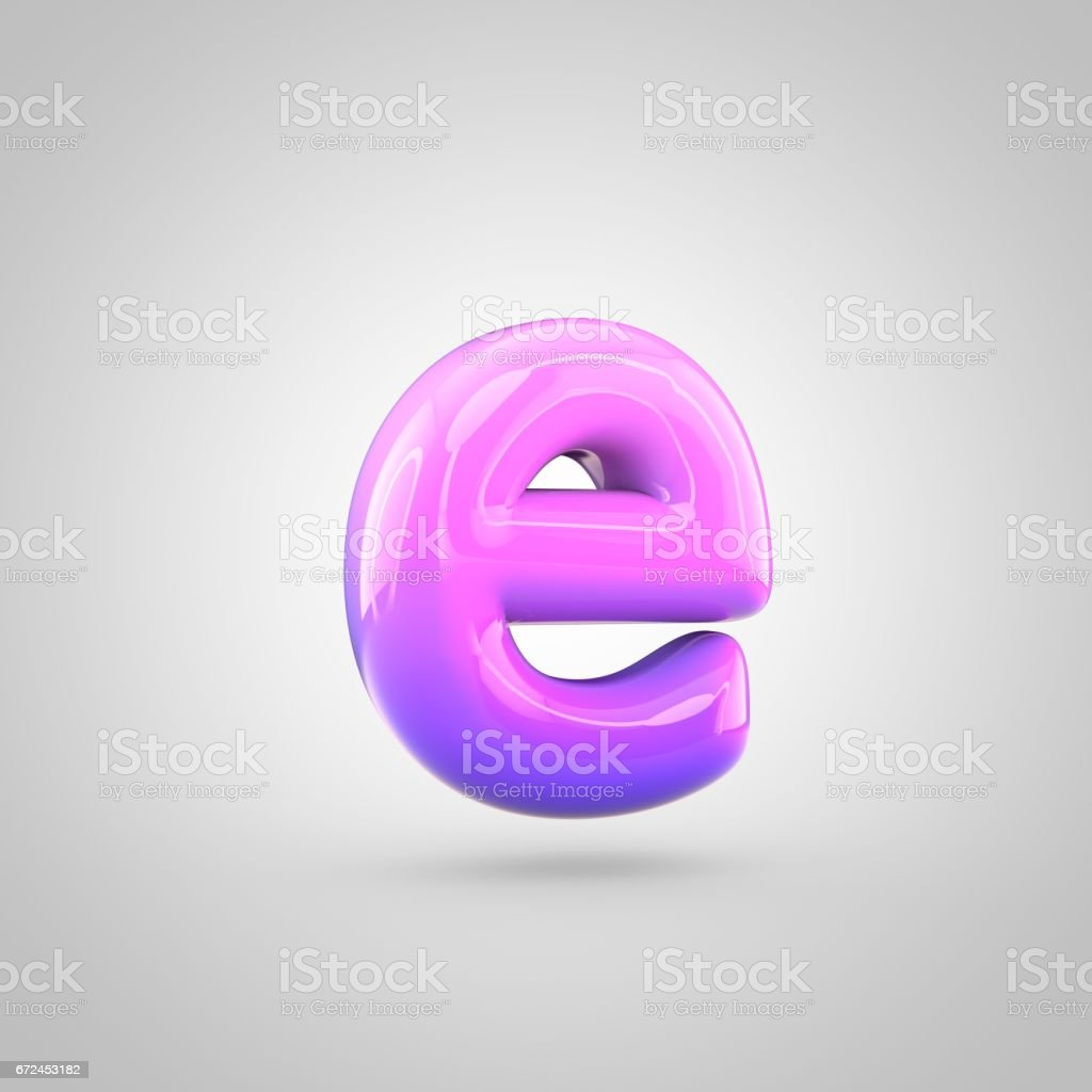 Glossy Pink And Violet Gradient Paint Alphabet Letter E Lowercase