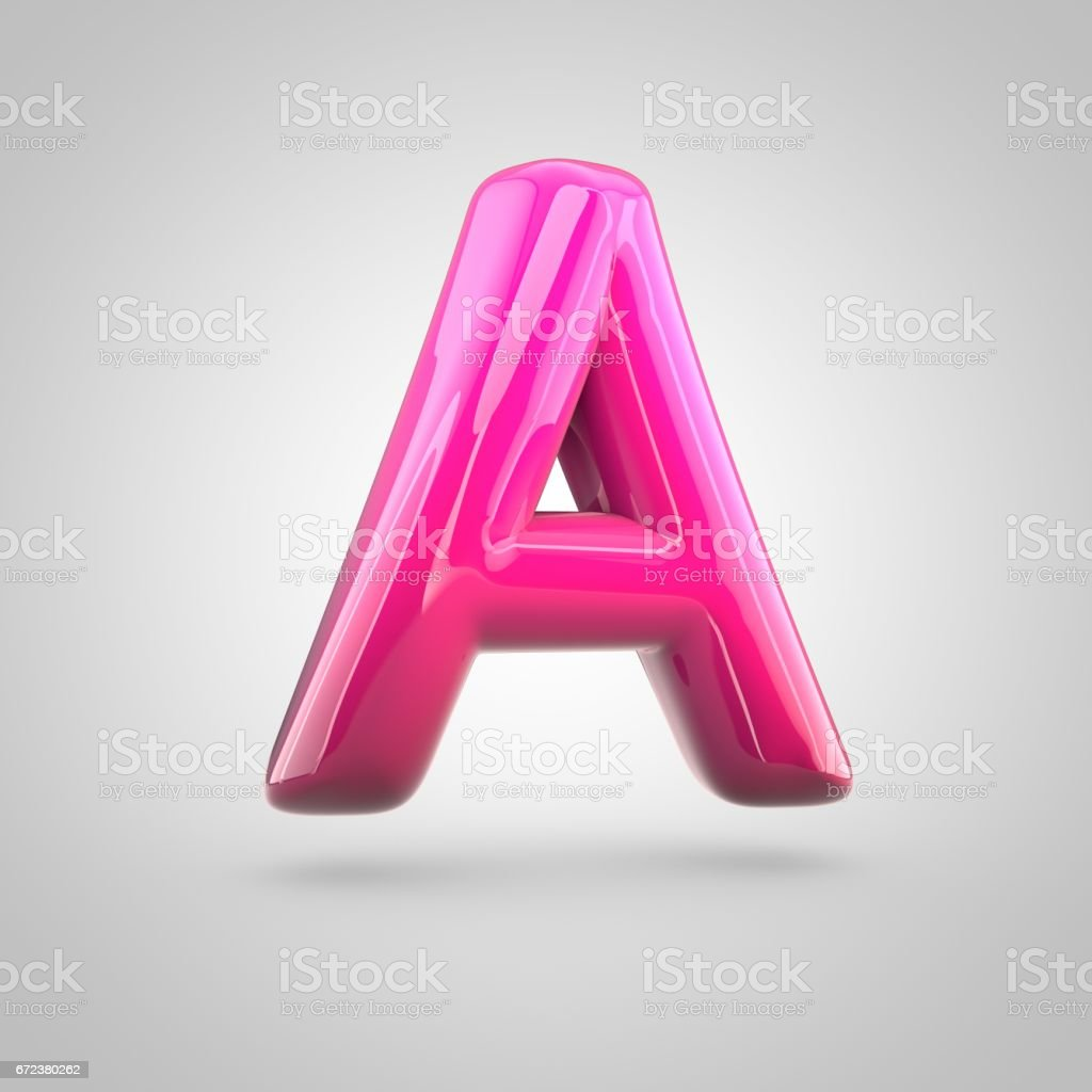 Glossy red and pink gradient paint alphabet letter A uppercase isolated on white background векторная иллюстрация