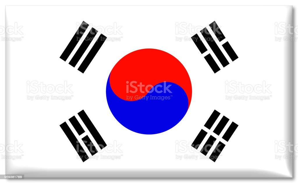 bandeira nacional de sul-coreano lustroso - ilustração de arte em vetor