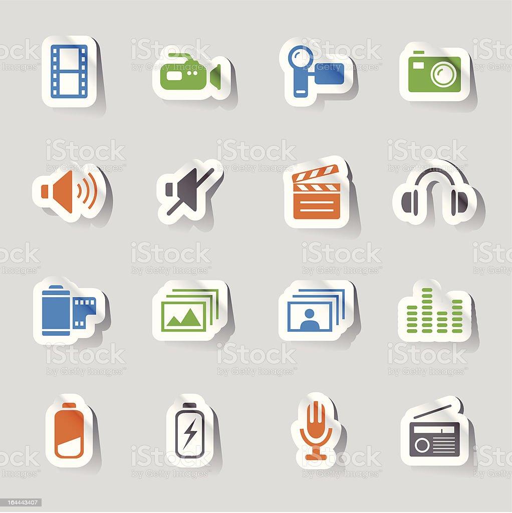 Glossy Stickers - Media Icons vector art illustration