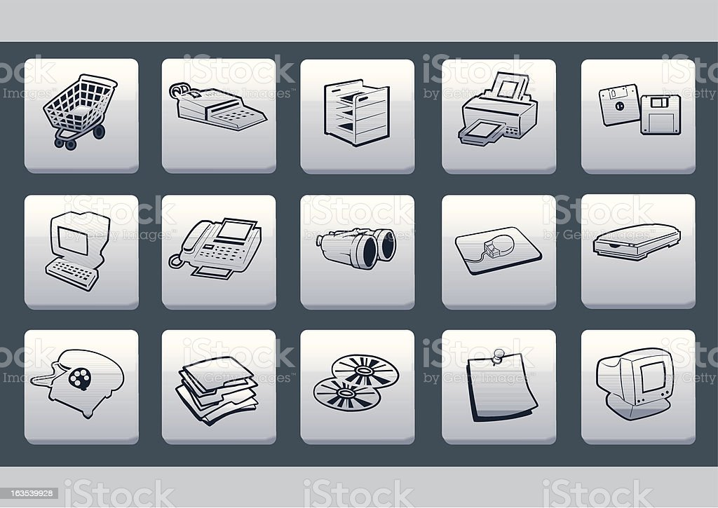 Glossy White Plastic Icon Set royalty-free glossy white plastic icon set stock vector art & more images of bar code reader