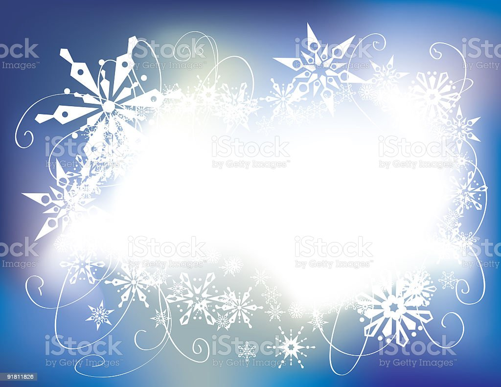 Glowing Blue Snowflake Frame vector art illustration