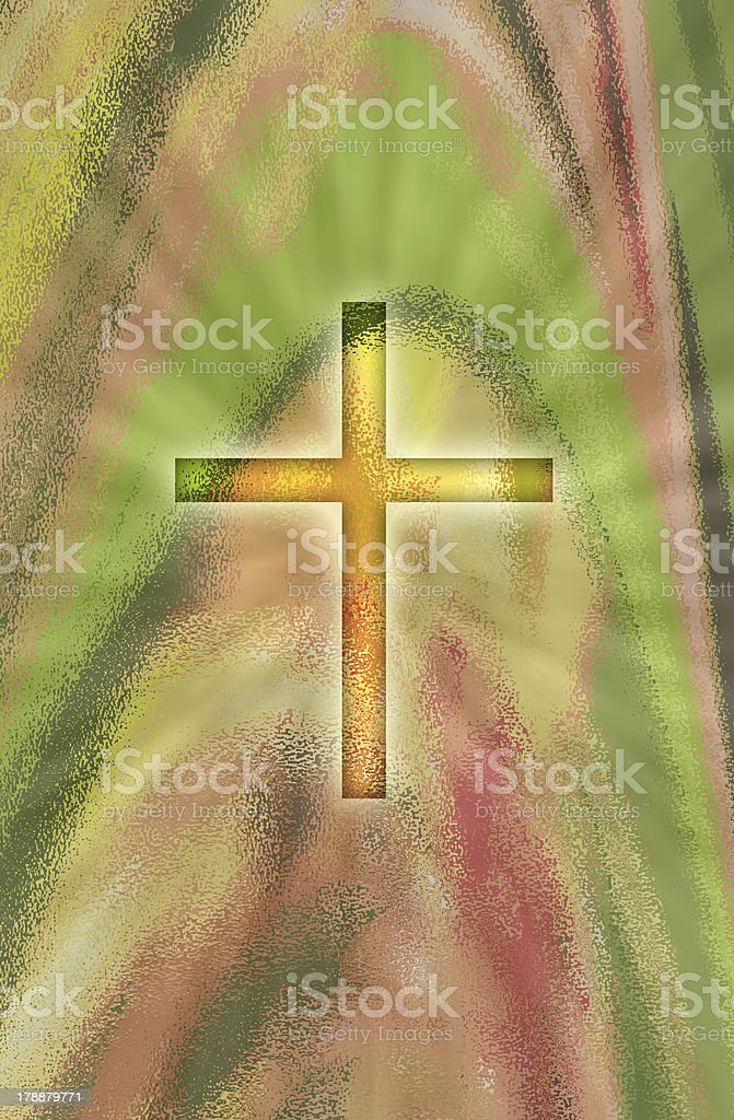 glowing cross on abstract background royalty-free stock vector art
