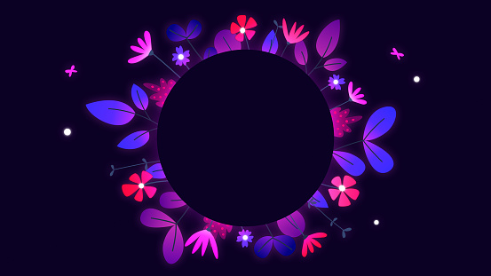 Glowing fluorescent flower frame with copy space