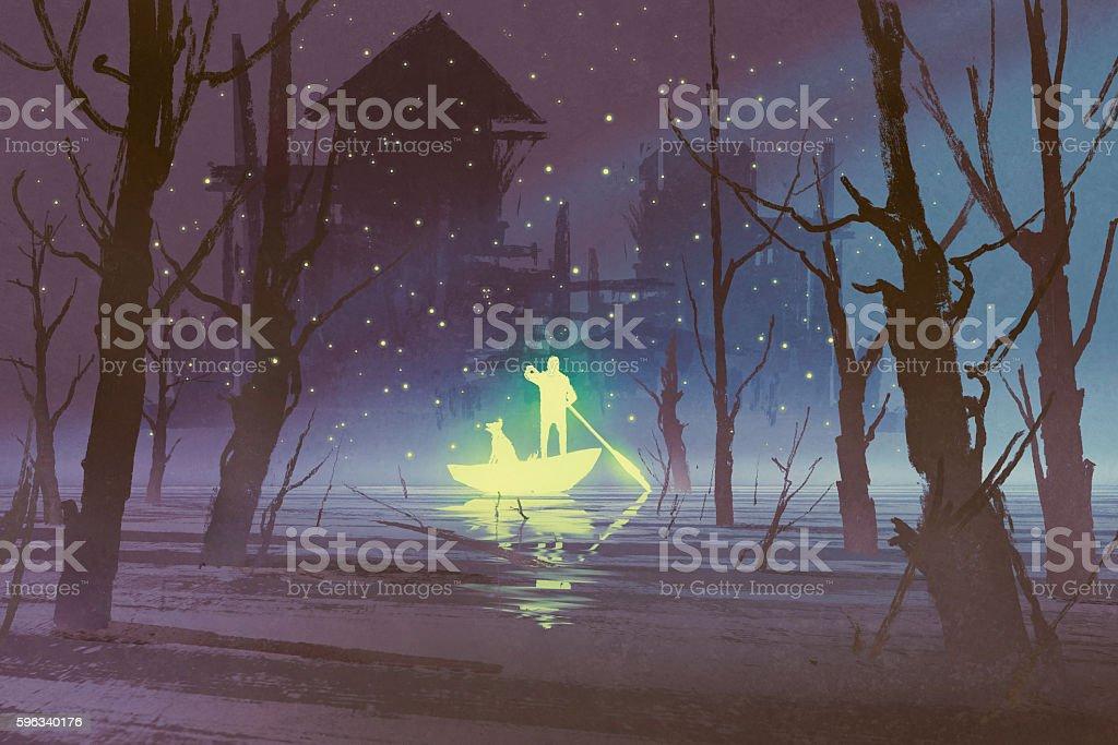 glowing man and dog rowing boat in river Lizenzfreies glowing man and dog rowing boat in river stock vektor art und mehr bilder von acrylmalerei