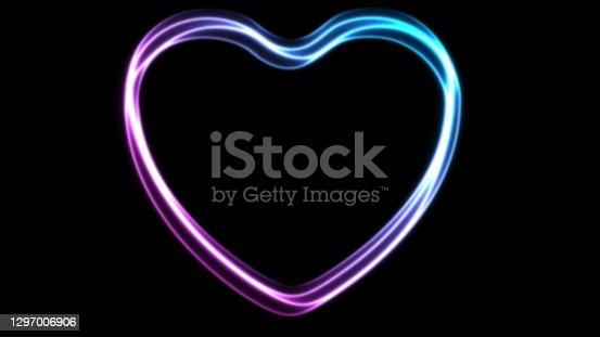 istock Glowing neon blue purple hearts background 1297006906