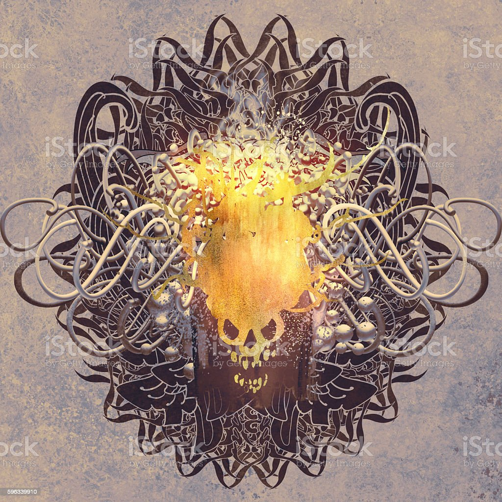 glowing skull on graphic background with grunge royalty-free glowing skull on graphic background with grunge stock vector art & more images of acrylic painting