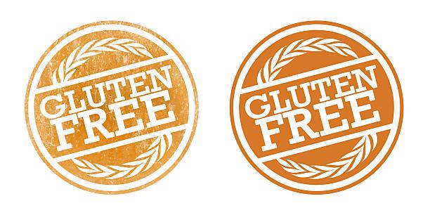 ilustraciones, imágenes clip art, dibujos animados e iconos de stock de sin gluten estampillas - sin gluten