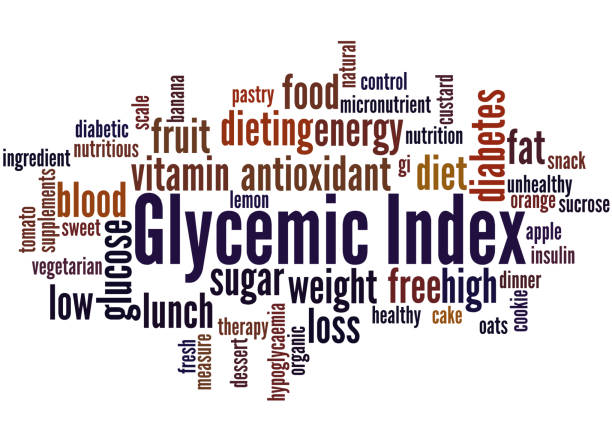 Glycemic Index, word cloud concept 2 Glycemic Index, word cloud concept on white background. glycemic index stock illustrations