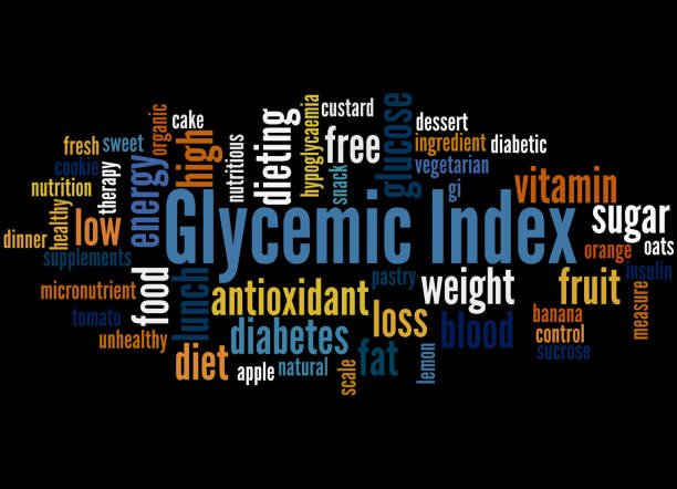 Glycemic Index, word cloud concept 3 Glycemic Index, word cloud concept on black background. glycemic index stock illustrations