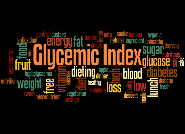 Glycemic Index, word cloud concept 4 Glycemic Index, word cloud concept on black background. glycemic index stock illustrations