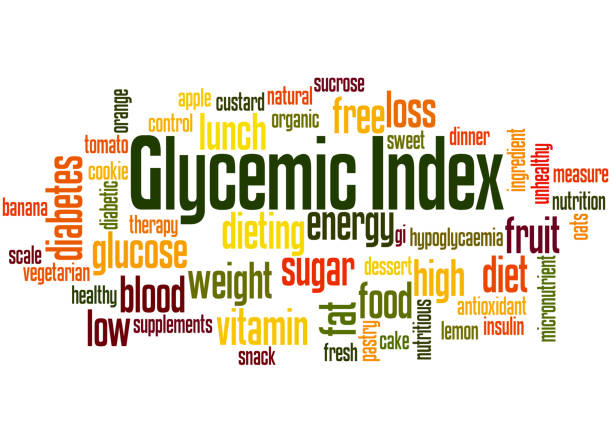 Glycemic Index, word cloud concept 5 Glycemic Index, word cloud concept on white background. glycemic index stock illustrations