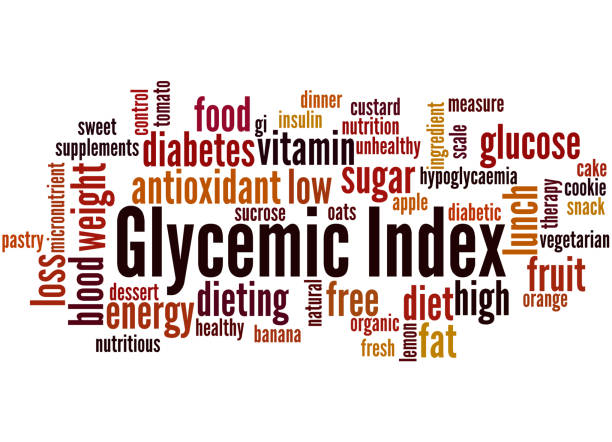 Glycemic Index, word cloud concept Glycemic Index, word cloud concept on white background. glycemic index stock illustrations