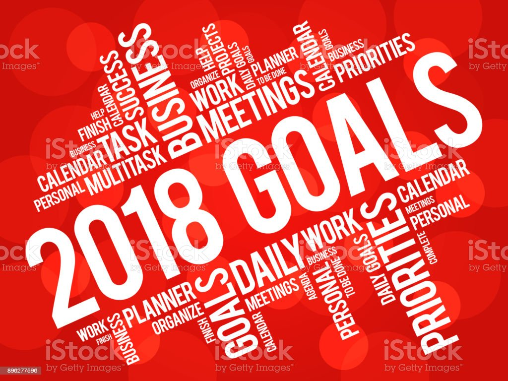 2018 Goals word cloud vector art illustration